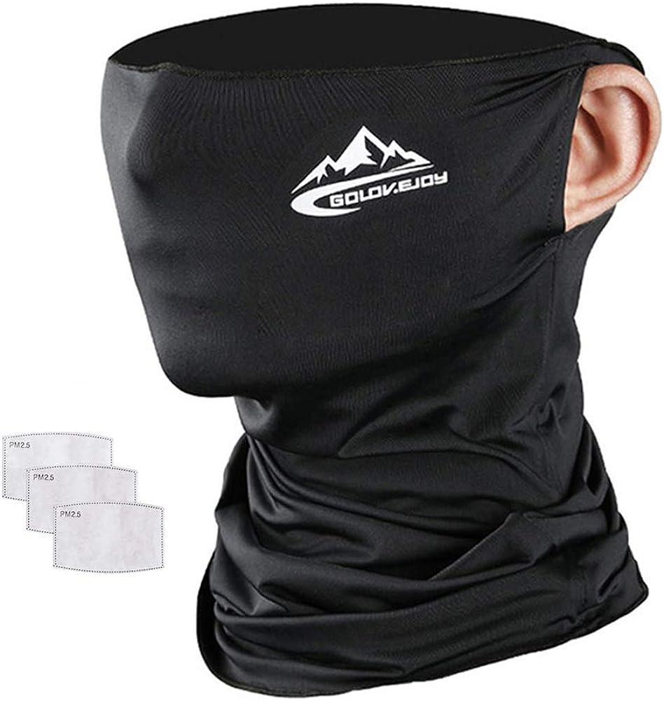 Unisex Neck Gaiter Face Mask with Filter Reusalbe Face Mask for Men Women, Headband, Scarf Face Coverings for Men