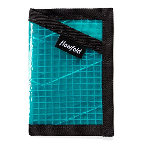 Flowfold Recycled Sailcloth Minimalist Slim Front Pocket Card Holder Wallet - Light Weight - Made in the USA - Cyan made in New England