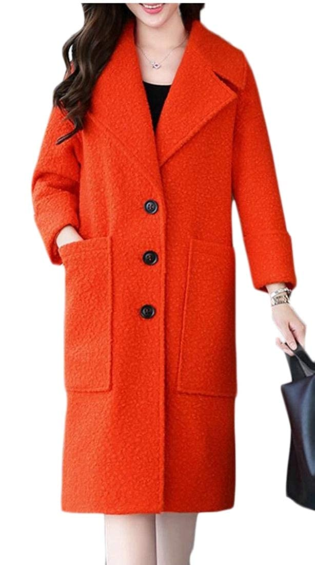 1 Women's Overcoat Lapel Woolen Single Breasted Trench Pea Coat Jacket