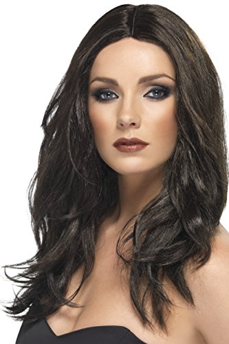 Smiffy's Women's Mid Length Dark Brown Wavy Wig with Centre Skin Parting, One Size, Superstar Wig, (Star Long Wavy Wig)