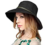 Summer Beach Linen UPF 50+ Sun Hat with Wooden Bead for Women, Black