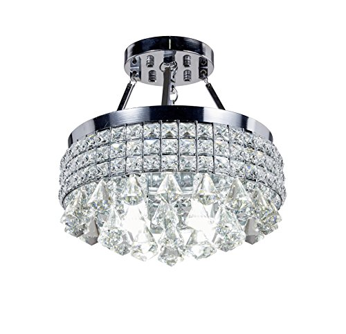 MonaLisa Gallery Crystal Chandeliers Semi Flush Mount Ceilling Pendant Light Fixture SML-119-X-W14-Silver