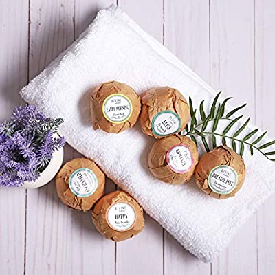 6 XL USA Made Lush Bath Bombs Kit - Organic Coconut oil and Shea Butter - Valentine Gift For Women - Bath Fizzies - Best Gift Ideas and Gift Sets - Use with Bath Bubbles Basket Bath Beads