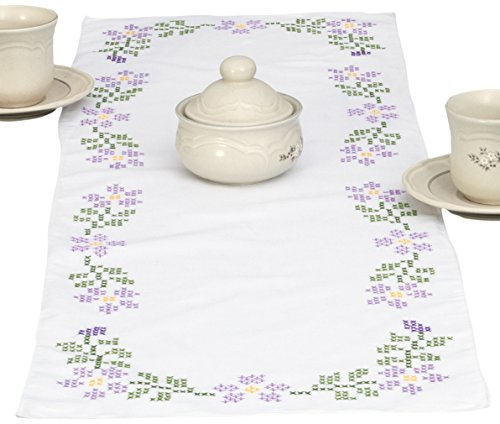 Jack Dempsey Stamped Table Runner/Scarf, 15 by 42-Inch, XX Starflowers
