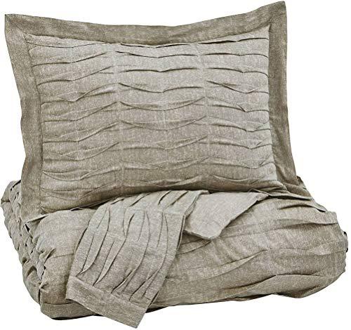 Ashley Furniture Signature Design - Voltos Duvet Cover Set - Includes Duvet & 2 Shams - King Size - Brown ()