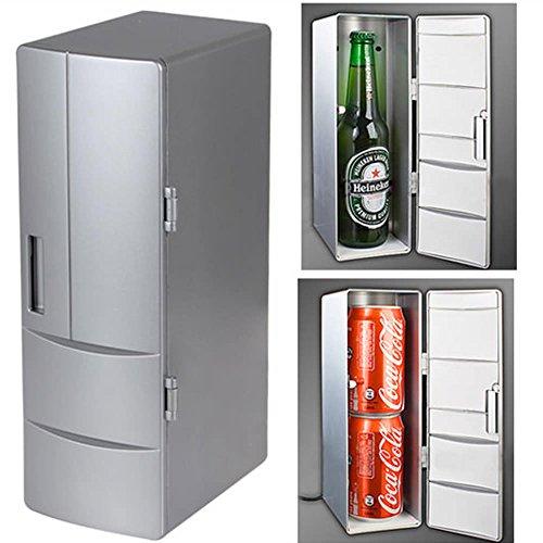 Price comparison product image DealStock Portable Practical Mini USB Fridge Office Desktop PC Car Refrigerator Freezer Beverage Can Drink Cooler Plug & Play Silver