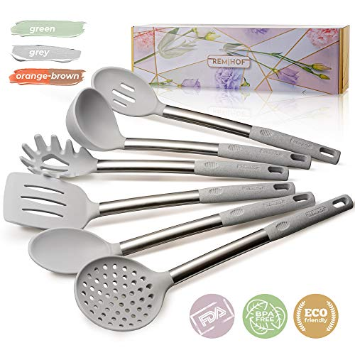 (REMIHOF Kitchen Utensil Set - 6 Piece Nonstick Silicone and Stainless Steel Cooking Utensils & Spatulas - Spatula Turner Ladle Pasta Server - Best Kitchen Tool Set Gift)