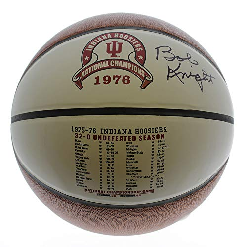 Bobby Knight Autographed Signed Indiana Hoosiers 1976 National Champions White Panel Basketball - PSA/DNA Certified Authentic