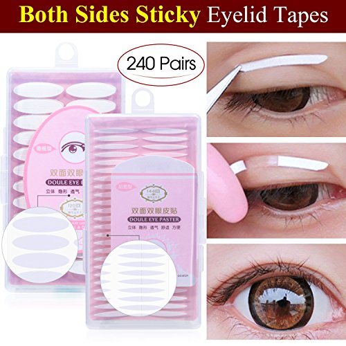 480Pcs Invisible Double Side Sticky Eyelid Tapes Stickers, Medical-use Adhesive Fiber, Instant Eyelid Lift Without Surgery, Perfect for Hooded, Droopy, Uneven, Mono-eyelids (240Pcs Slim+240Pcs Wide)