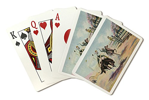 Western Scene - Rodeo Scene with Cowboy Riding a Bucking Horse (Playing Card Deck - 52 Card Poker Size with Jokers)