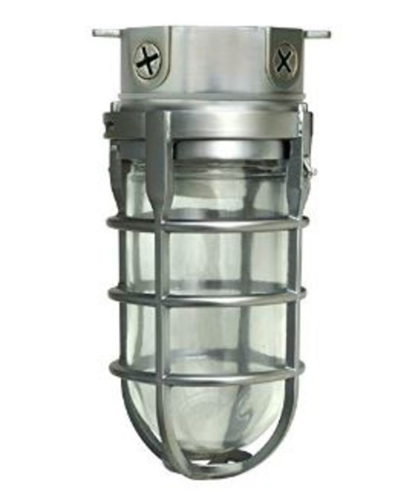 Woods L1706BS Vandal Resistant 150W Incandescent Security Light, Ceiling Mount, Compatible With Up To 50 Watt Standard Base Bulbs, Brushed Steel