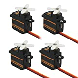 AUTOUTLET 4pcs Mini Metal Gear Servo 13g/0.5oz High-Speed Analog Steering Engine 4.8-6V for RC Airplane Helicopter 3D Flight