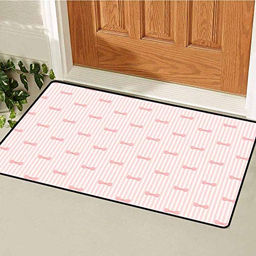 (GloriaJohnson Baby Welcome Door mat Vertical Stripes with Bow Ties Pale Palette Illustration Lovely Valentines Day Door mat is odorless and Durable W23.6 x L35.4 Inch Rose Pale Pink)