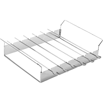 Inspired Home Living SHISH Kabob Grill Rack with 6x14.5 inch Skewers - Barbecue (BBQ) Stainless Steel Non-Stick Flat Wide Kabob Skewers - Food Wont Stick ...