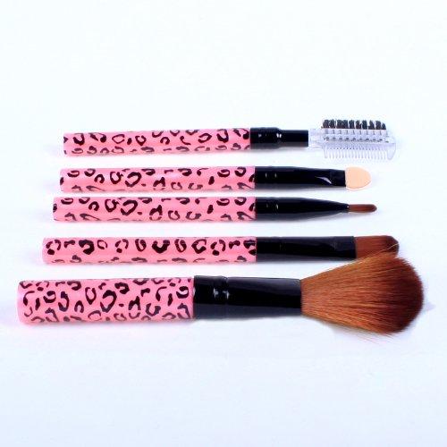 Ostart 5 pièces cosmétiques Maquillage Brush Tool Kit Set de voyage - Rose