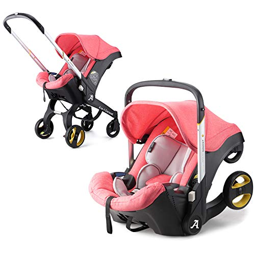 Baby Stroller 4 in 1 and 3 in 1 Newborn Bassinet Cradle Type Child Safety Seat Baby Carriage Basket Baby Car Travel System (Pink)
