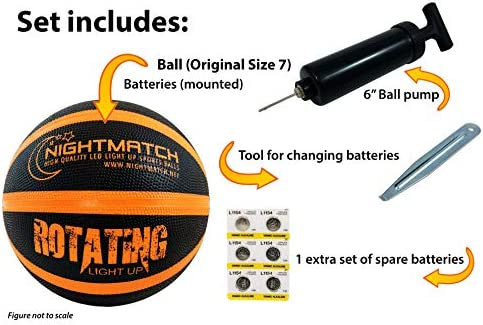 Perfect Glow in The Dark Basketball with Spare Batteries Waterproof Glow Basketball with Two High Bright LEDs Official Size 7 NIGHTMATCH Light Up LED Basketball Extra Pump and Batteries
