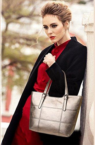 NICOLE&DORIS Mode Bolsos de Mano para Mujer Monederos Bolso Crossbody Mujer Bolso de Bandolera 3PCS Bolsa Durable PU Rojo Oro