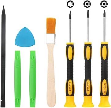 Juego de destornilladores Torx de seguridad T6 T8 T10 para Xbox One Xbox 360 Controller PS3 PS4 Kit de herramientas de reparación con cepillo de limpieza para pulidora de seguridad: Amazon.es: Bricolaje