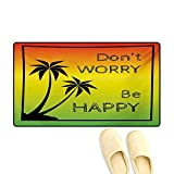 Bath Mat,Dont Worry Be Happy Music Quote Iconic Singer Palms Ombre Colors,Door Mats
