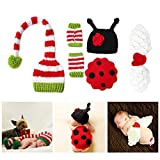 Newborn Photography Props for Baby Shower Girls and Boys Photo Posing Knitting Clothing Outfit Crochet Hat and Angel Wings Ladybug Set(0-3 Month)