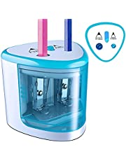 Electric Pencil Sharpener AA Battery Operated with Automatic Double Pencil sharpeners Blade Cutter holes in Dia 6-8mm & 9-12mm Ideal for Office School Artists Adults & Drawing Kids