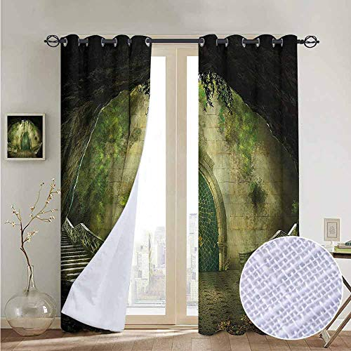 (NUOMANAN Print Curtains for Bedroom Curtain Retro,Ruins of Castle Lady Figure,Grommet Window Treatment Set for Living Room 84