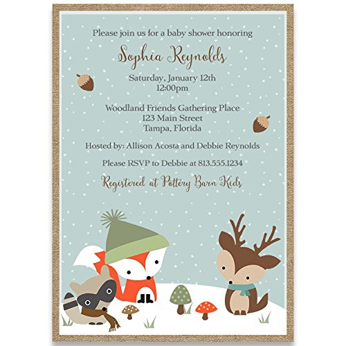 Winter Woodland Forest Animals, Baby Shower Invitations, Gender Neutral, Racoon, Deer, Fox, Tree Top Friends, 10 Custom Printed Invites with White Envelopes,