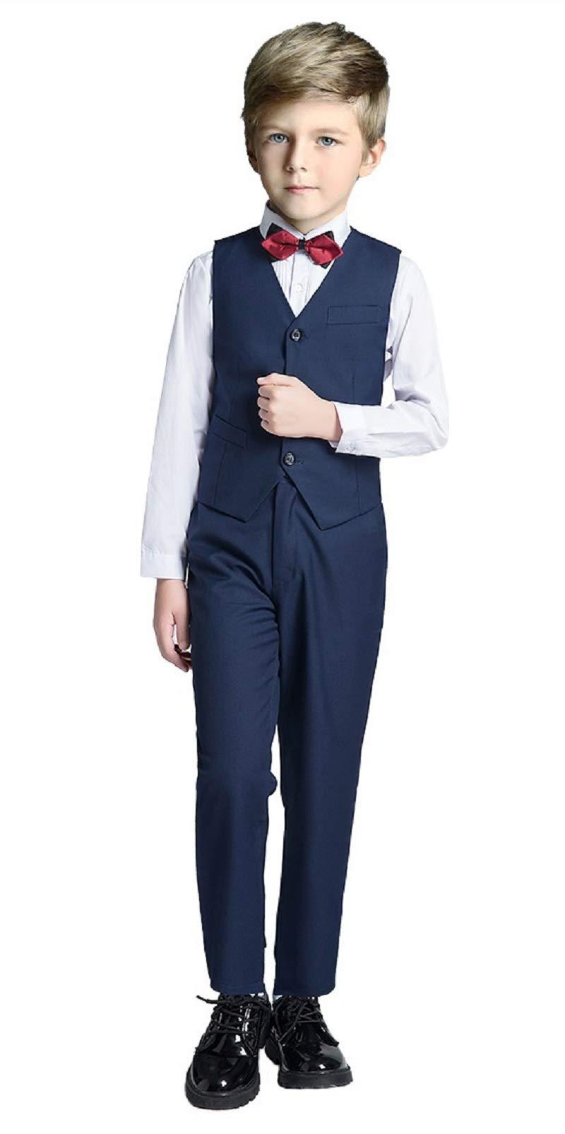 Boys Vest Set Formal Suit Tuxedo PantsShirtand Tie Toddler Slim Fit 4 Piece Suits Blue Size 6