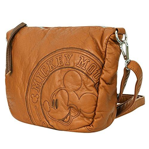 (Disney Vintage Mickey Mouse Pattern Multi Purpose Cross Body Mini Shoulder Bag, Caramel)