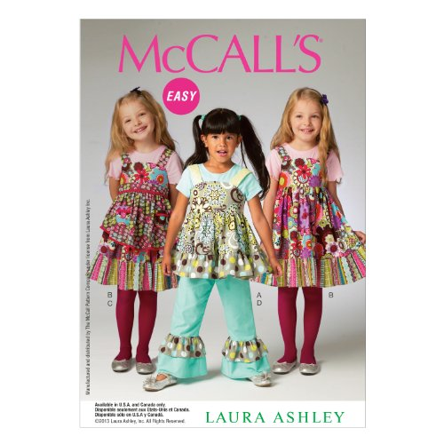 McCall Pattern Company M6826 Children's/Girls' Top, Dress, Apron and Pants Sewing Template, Size CL (Apron Patterns Children)