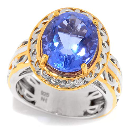Michael Valitutti Palladium Silver Oval Shaped Blue Fluorite Solitaire Ring