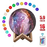 Starry Moon Lamp, Metplus 3D Printing Night Light 16 Colors Remote & Touch Control USB Rechargeable Moonlight Lamps Dimmable LED Galaxy Lights for Home Décor Kids Birthday Christmas Gifts - 5.9 Inch