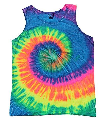 Colortone Tie Dye Tank Tops Unisex Neon multicolored Adult Small - 3X (X-Large)