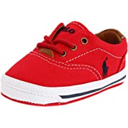 Ralph Lauren Layette Vaughn Crib Shoe (Infant/Toddler),Red Canvas,4 M US Toddler