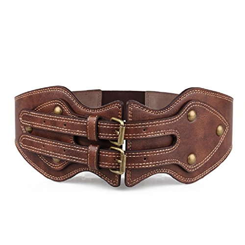 LIPOVOLTLuxury Women Wide Corset Double Buckle Belt Stretch Decorative Cinch Ban Buckle Wide Corset