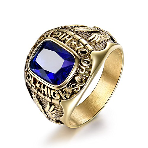 - MASOP 316L Stainless Steel Comfort Ring Men Engraved Eagle High School Crystal Gold Color Size 10