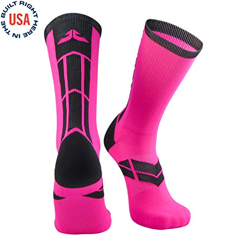 Epivive Velocity Pink andamp; Black Football, Basketball, Lacrosse Socks (Large)