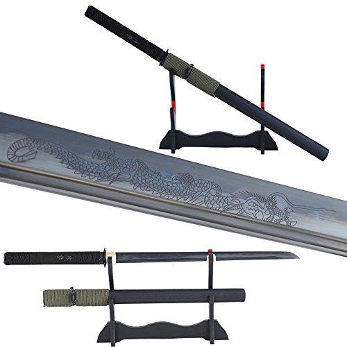 Handmade Japanese Samurai Straight Sword Black Blade Wakizashi Ninja Sword