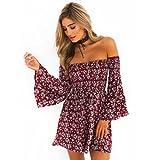 Women Mini Dress,Off Shoulder Floral Dress Flare Sleeve Sundress Party Skirt Axchongery (Red, S)