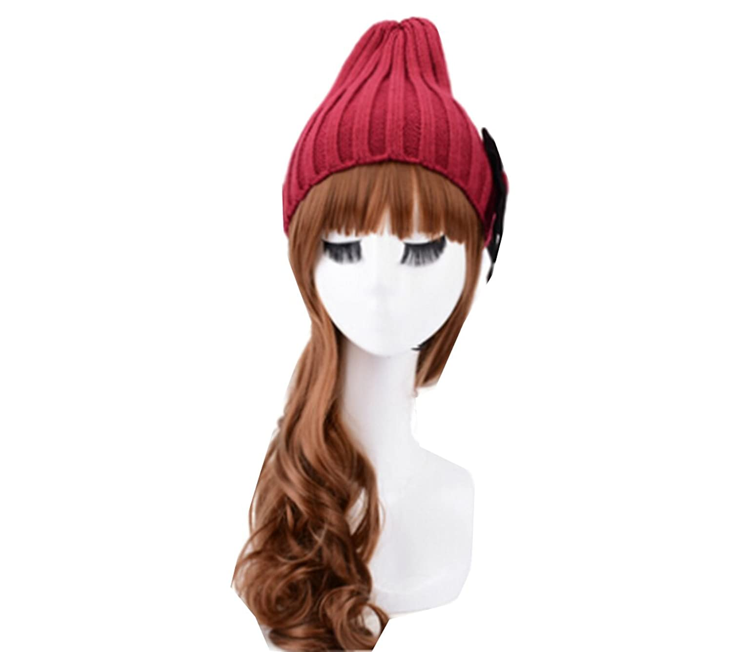 Km Women Autumn Fashion Cute Bow Hat Warmth Knitted Cap Dome Cap