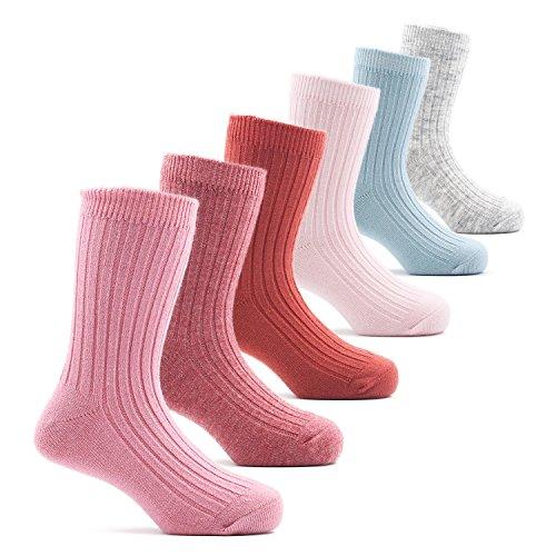 Toddler Girls Wool Socks Kids Crew Seamless Winter Warm Socks 6 Pack 1/2/3T