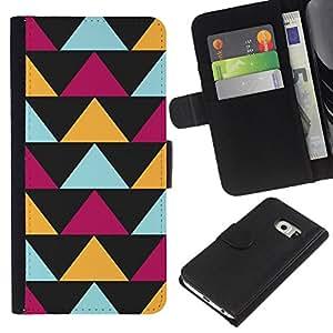 WINCASE ( No Para Normal S6 ) Cuadro Funda Voltear Cuero Ranura Tarjetas TPU Carcasas Protectora Cover Case Para Samsung Galaxy S6 EDGE - Modelo de flores de piel en colores pastel abstracto