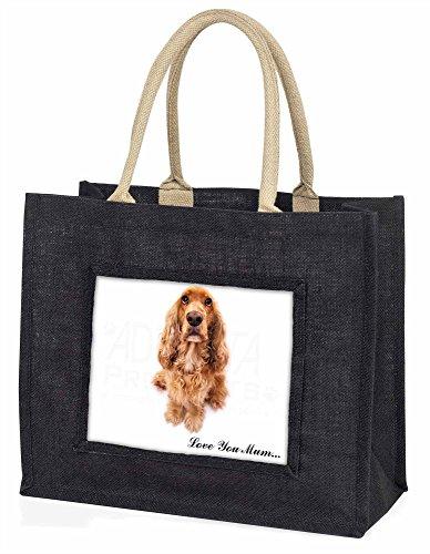 Advanta–Große Einkaufstasche Cocker Spaniel Hund Love You Mum Große Einkaufstasche Weihnachtsgeschenk Idee, Jute, schwarz, 42x 34,5x 2cm