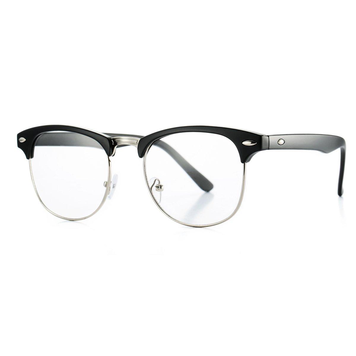 Fake Nerd Glasses Semi-Rimless Clubmaster Clear Lens Frame Horn Rimmed 51) AZ5154B