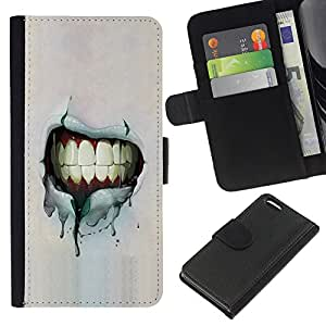 KingStore / Leather Etui en cuir / Apple Iphone 5C / Dientes Sonrisa Grunge