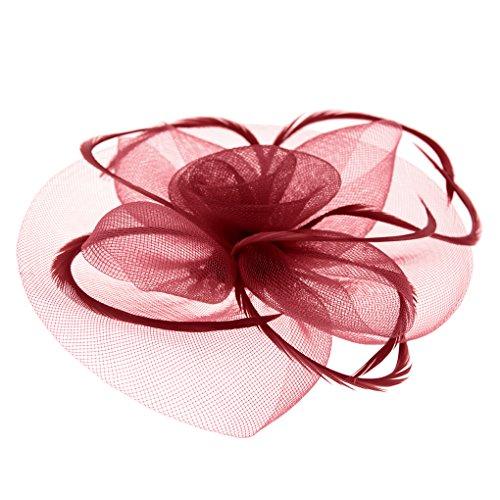 Clobeau Mesh Hair Fascinators Hat Headband Wedding Party Races Tea Derby Hat Bridal Fascinators Headwear Headpiece Church Hats (Wine Red)