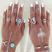 Sumanee 8PCS/Set Womens Vintage Boho Tribal Ethnic Turquoise Ring Hippie Gothic Jewelry