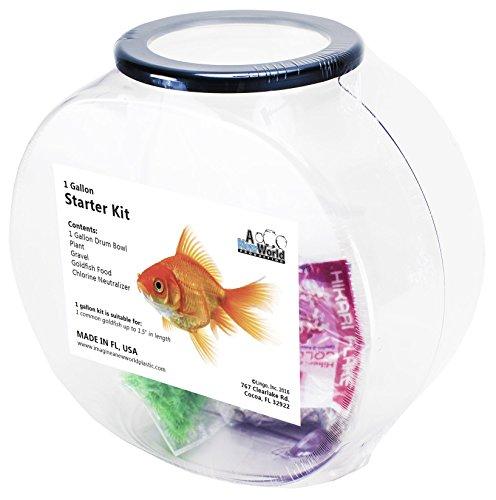 Tooters Promotions Goldfish Plastic Fishbowl Starter Kit (Goldfish Kit)
