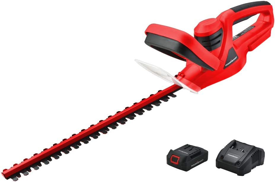 PowerSmart PS76105A 20V Lithium-Ion Cordless Hedge Trimmer, 1.5 Ah Battery and Charger Included